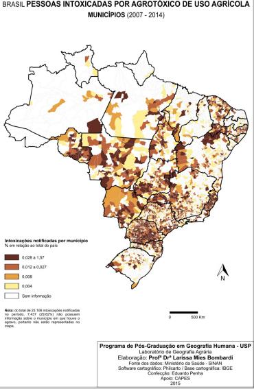 Pessoas intoxicadas por agrotóxicos-municipios 2007-2014